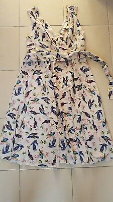 Anmol rockabilly tea dress cream birds size 20 BN *breastfeeding friendly*
