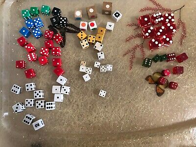 lot of 75 vintage dice red green white assorted sizes wood lucite bakelite