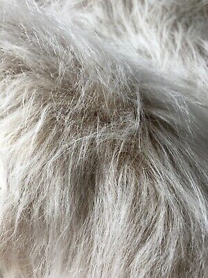Long Haired Faux Fake Fur Fabric Material - Camel Frost - 2 metres x 1metres