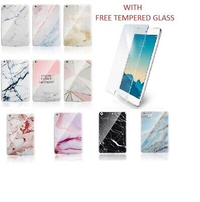 Slim Marble Silicon Gel Case Cover For Apple iPad AIR AIR2 +FREE TEMPERED GLASS