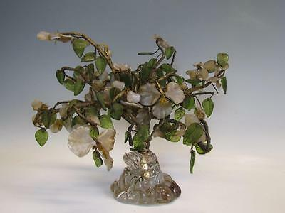 ANTIQUE CHINESE JADE TREE with GLASS BASE, OPALESCENT GLASS, WIRE TREE TRUNK