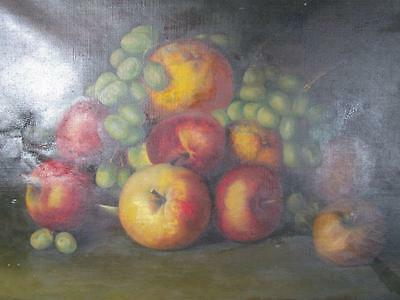 ANTIQUE 1800s AMERICAN FRUIT STILL LIFE, ILLEGIBLE SIGNATURE, with APPLES,GRAPES