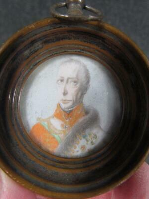 ANTIQUE early 1800s EUROPEAN MINIATURE PORTRAIT OF MILITARY SOLDIER