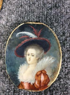 ANTIQUE FRENCH 1778 MINIATURE PORTRAIT PAINTING by JEAN ADAM SERRE