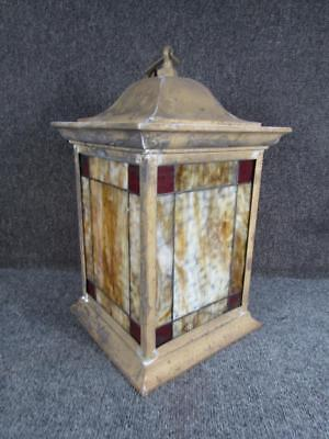 ANTIQUE ARTS & CRAFTS HALL hanging LANTERN with LEADED GLASS.....attr. to B&H