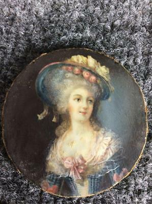ANTIQUE 1781 FRENCH MINIATURE PORTRAIT signed LE PAGE of BEAUTIFUL WOMAN