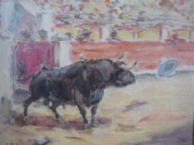 VINTAGE 1940s SPANISH MATADOR BULL FIGHTING PAINTING signed L. MOLINA
