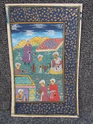 ANTIQUE 18th C. Anglo Indian Mughul Manuscript Book Page, HAND PAINTED Painting