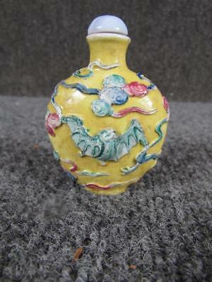 ANTIQUE YELLOW signed CHINESE PORCELAIN SNUFF BOTTLE with BATS
