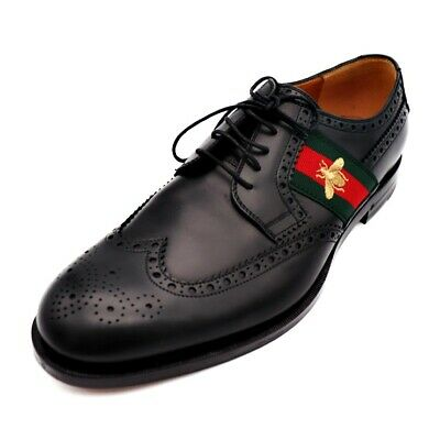 61bf8cd928f3 Gucci Wingtip Business Shoes Shelly Bee Black Green Red Gold Mark Size 10  Refe