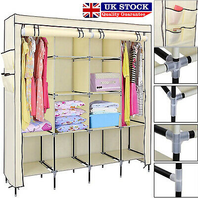 Clothes Closet Portable Wardrobe Clothes Storage Rack 12 Shelves 4 Side Pockets