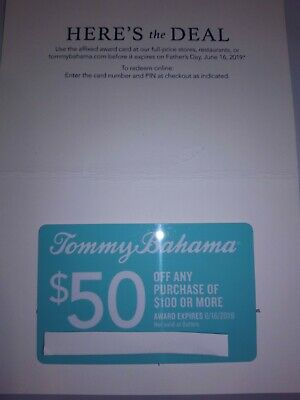 Tommy Bahama $50 off $100 Gift Card Coupon EXP 6/16/19 Store Online Restaurant