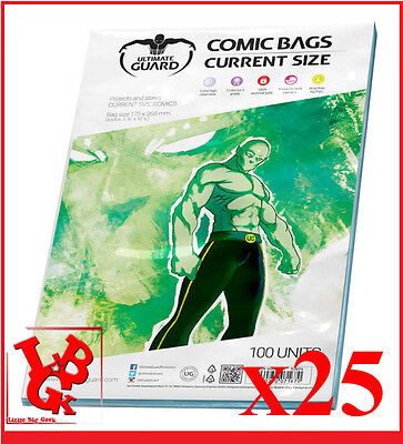 Pochettes Protection CURRENT Size comics VO x 25 Marvel Ultimate Bags # NEUF #