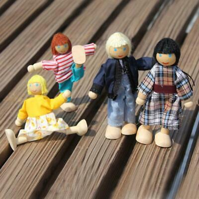 4 PCS Children Baby Dolls House Miniature Scale Family Of 4 Poseable People Gift