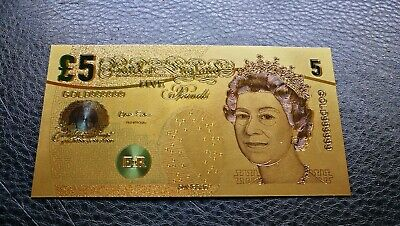 Only One Old Style British £5 Elizabeth 24K Gold Plated Banknote /w COA