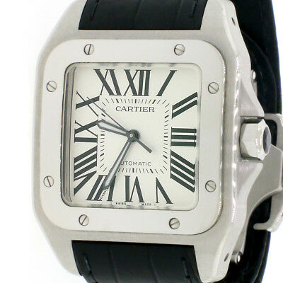 bbef38e31 Cartier Santos 100 Large Silver Roman Dial Steel Mens Watch Box Papers  W20073X8