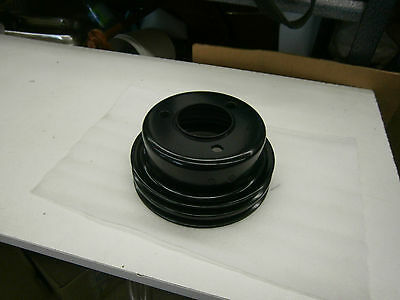 1967-68 Ford Mustang Crank Pulley 2 GROOVE C7OE-6312-A 9 (POWDER COAT BLACK)