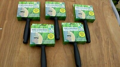 Pack of 5 fence and shed brushes. 4 inch. fast application of wood preservatives
