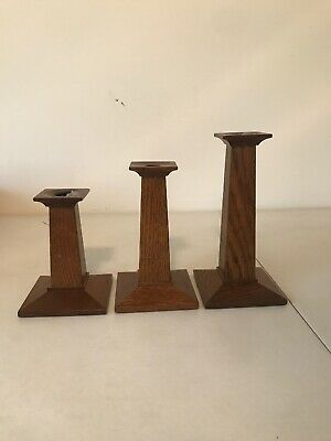 """Authentic Stickley #35 Mission Style Oak Candlestick Holders 7.5""""  9"""" 6.25"""" Tall"""