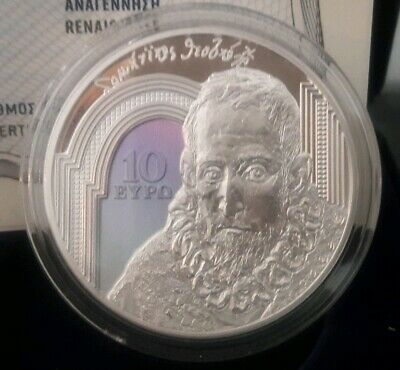 SILVER color Proof 🅰️ GREECE 10 Euro 2019 🅰️ RENAISSANCE 🅰️ EL GRECO DOMENICO