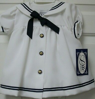 NWT Girls white Sailor dress with navy blue trim and tie w/ matching Hat size 3T