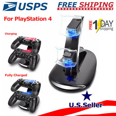 For Sony PS4 Dual Controller USB LED Charging Fast Charger Dock Station Stand