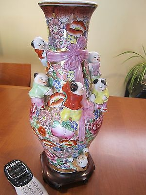VTG Chinese Fertility Vase Colorful Porcelain 7 Children Climbing Best on E-bay