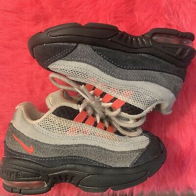 77c4aa36b0 NIKE AIR MAX 95 solar red black gray BABY TD SZ 6c 6 child youth ...