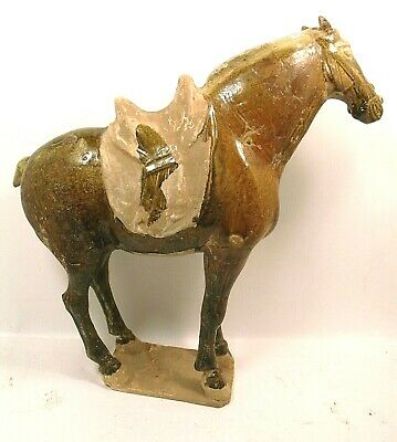 Antique Chinese Tang / T'ang Dynasty gazed horse 618-907 AD 14 inches h.