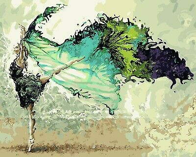 ABSTRACT DANCING GIRL IN GREEN PAINT BY NUMBERS CANVAS KIT 20 x 16 ins FRAMELESS