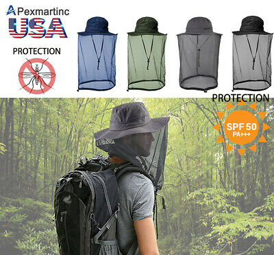 Outdoor Mosquito Head Net Hat Hiking Fishing Sun Bee Bug Mesh Face Protection