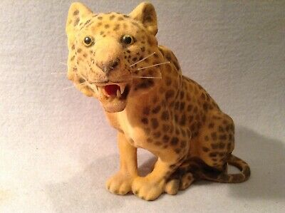 Vintage Flocked Leopard Figurine/Toy Hand Crafted In Hong Kong
