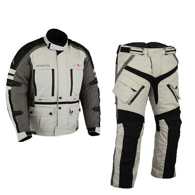 Mens Ce Armor Winter Motorbike Jacket And Trouser Motorcycle Touring Suit Gray