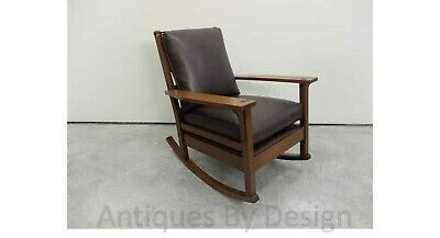 C1910 Arts + Crafts Quartered Oak Gustav Stickley Rocker / Rocking Chair