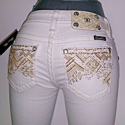 Women's Clothing Jeans Nwt $99 Miss Me Womens Junior Jeans Capri Low Rise White Embellished Sz 25 X 20