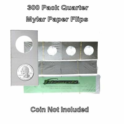 300 Cardboard/Mylar 2x2 Coin Holder Flips for Quarter 24.3mm, by Guardhouse