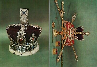 2 x Vintage Royalty Postcards Imperial State Crown & St Edward's Crown  c.1970's