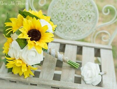 Yellow Sunflower White Rose And Wheat Stalk Burlap Wedding Bouquet
