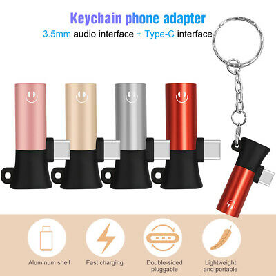 Key chain USB C Audio Cable 2 in 1 Converter Earphone Adapter Type C to 3.5 mm