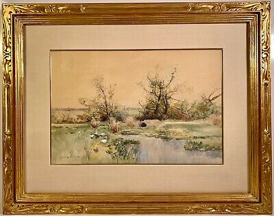 Listed Artist Bruce Crane (1857-1937) Signed Watercolor Painting w/ Provenance