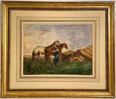 Listed Artist Eugène Fromentin (1820-1876) Signed Watercolor Le Campement Arabe
