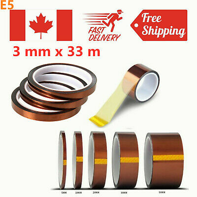 3mm x 33m 100ft Kapton Tape Adhesive High Temperature Heat Resistant Polyimide