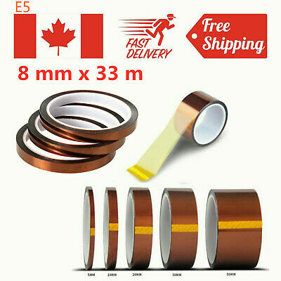 8mm x 33m 100ft Kapton Tape Adhesive High Temperature Heat Resistant Polyimide