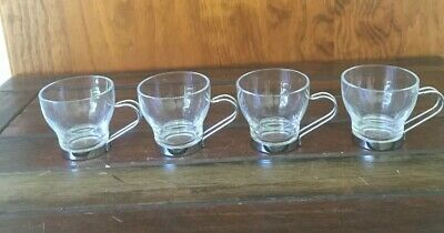4 VITROSAX Italian Made Espresso Cups Glass Stainless Steel Handles Excel Condit