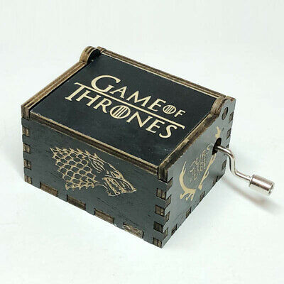 Antique carved Black Game of Thrones music box gift box,Christmas new year gift