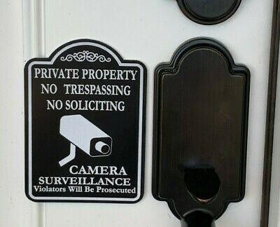 No Soliciting Private property trespassing camera surveillance door bell sign