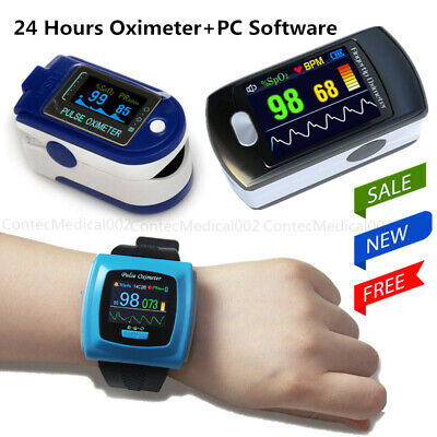 FDA 24 Hours Fingertip Pulse Oximeter OLED SPO2 Blood Oxygen Monitor PC Software