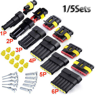 5 Set/lots 1~6 Pin Series Automotive Waterproof Electrical Wire Connector ~