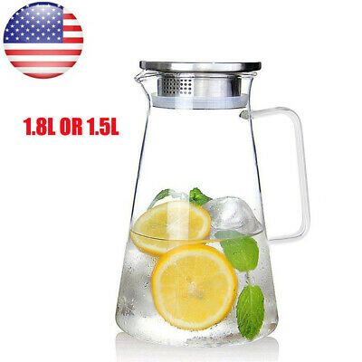 1.5L 1.8L Glass Pitcher Jug Cold Ice Tea Water Juice Coffer Milk Carafe With Lid