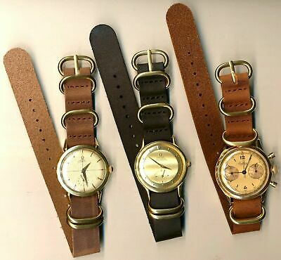 GOLD BUCKLE HARDWARE GENUINE LEATHER NATO G10 WATCH STRAP 16mm & 18mm
